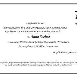 Informujemy u uroczystościach pogrzebowych ś.p. Anny Szelest