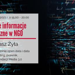 Cyfrowe informacje publiczne w NGO – szkolenie w dniach 26-27 kwietnia 2021 r.